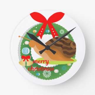 merry christmas snail round clock