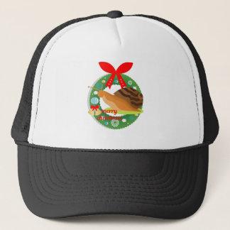 merry christmas snail trucker hat