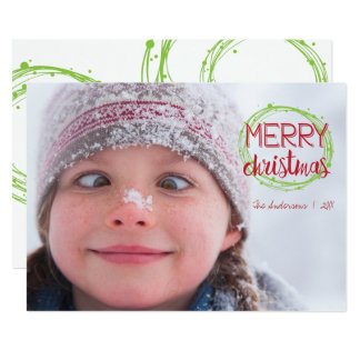 Merry Christmas Snow Bubbles Holiday Photo Card