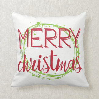 Merry Christmas Snow Bubbles Holiday Throw Pillow