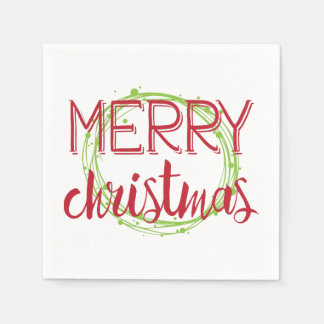 Merry Christmas Snow Bubbles Wreath Holiday Napkin