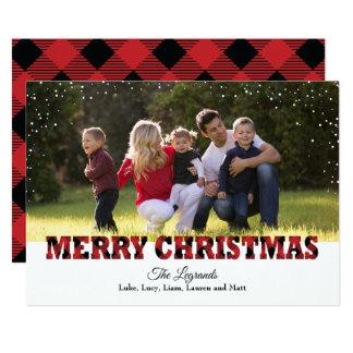 Merry Christmas Snow Card | Buffalo Plaid