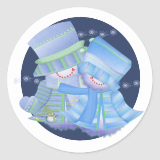Merry Christmas Snow Couple Classic Round Sticker