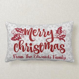 Merry Christmas Snow Custom Typography Pillow
