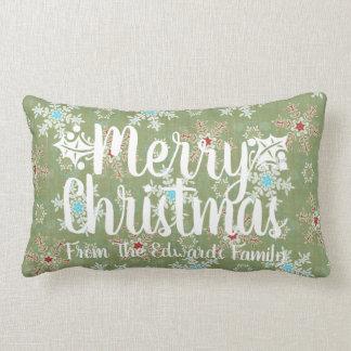 Merry Christmas Snow Custom Typography Pillow 2