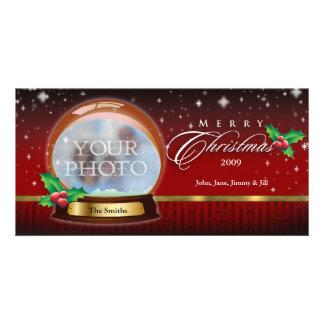 Merry Christmas Snow Globe Customizable 4 Photo Greeting Card