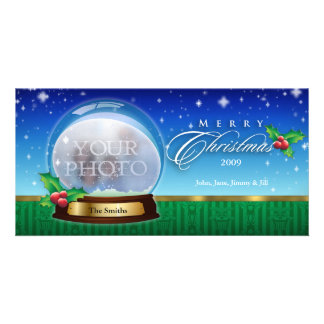 Merry Christmas Snow Globe Customizable 8 Picture Card