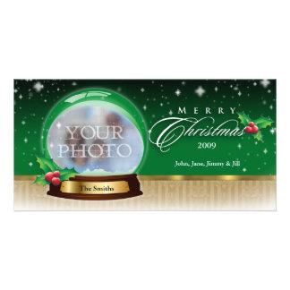 Merry Christmas Snow Globe Customizable GB Photo Card