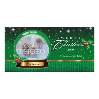 Merry Christmas Snow Globe Customizable Photo Cards