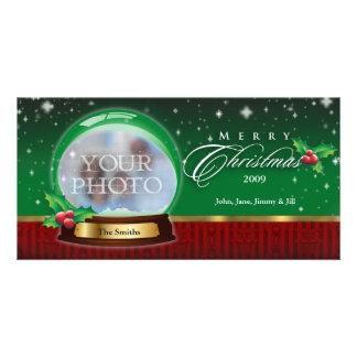 Merry Christmas Snow Globe Customizable Photo Greeting Card