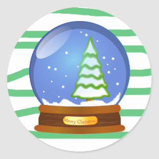 Merry Christmas Snow Globe Sticker