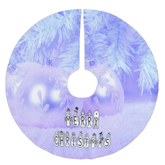 Merry Christmas Snow People Font, Blue Tint Snow Brushed Polyester Tree Skirt