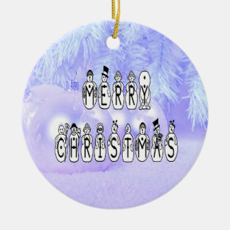 Merry Christmas Snow People Font, Blue Tint Snow Ceramic Ornament