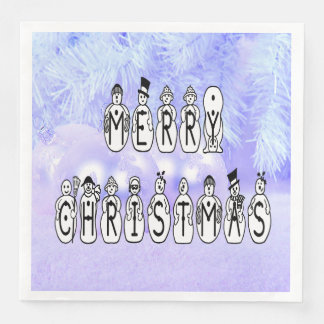 Merry Christmas Snow People Font, Blue Tint Snow Disposable Napkin
