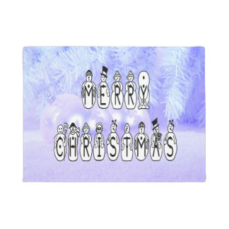 Merry Christmas Snow People Font, Blue Tint Snow Doormat