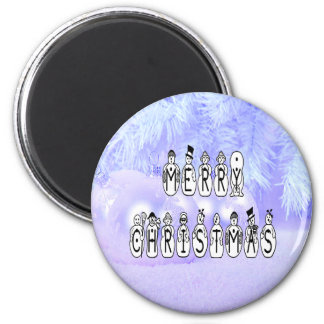 Merry Christmas Snow People Font, Blue Tint Snow Magnet