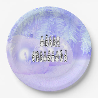 Merry Christmas Snow People Font, Blue Tint Snow Paper Plate