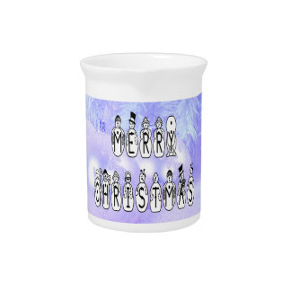 Merry Christmas Snow People Font, Blue Tint Snow Pitcher