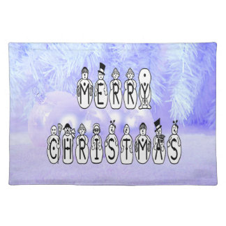 Merry Christmas Snow People Font, Blue Tint Snow Placemat