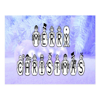 Merry Christmas Snow People Font, Blue Tint Snow Postcard