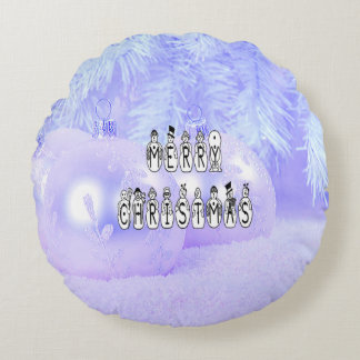 Merry Christmas Snow People Font, Blue Tint Snow Round Pillow