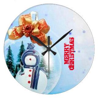 Merry Christmas Snow_RELOJ Large Clock