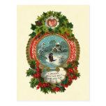 Merry Christmas Snow Scene Medallion Postcards