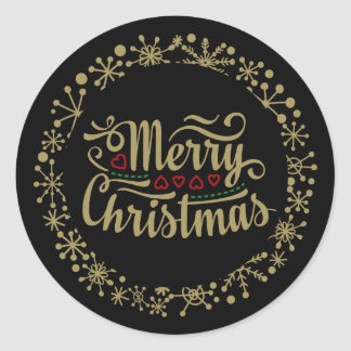Merry Christmas Snowflake and Hearts Stickers