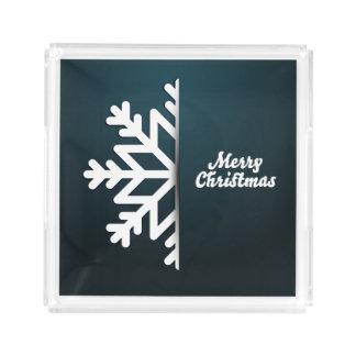 Merry Christmas Snowflake Blue Acrylic Tray