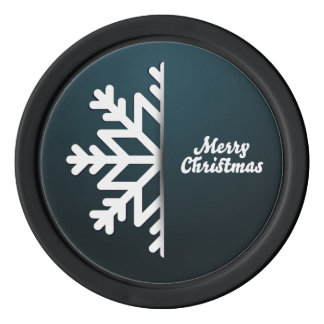 Merry Christmas Snowflake Blue Set Of Poker Chips
