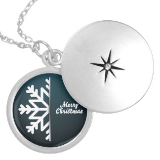 Merry Christmas Snowflake Blue Silver Plated Necklace