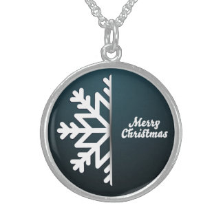 Merry Christmas Snowflake Blue Sterling Silver Necklace