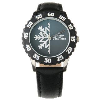 Merry Christmas Snowflake Blue Watch