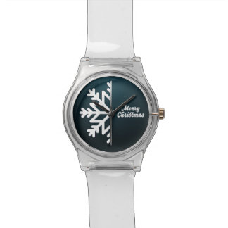 Merry Christmas Snowflake Blue Watches
