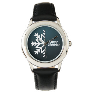 Merry Christmas Snowflake Blue Wrist Watch