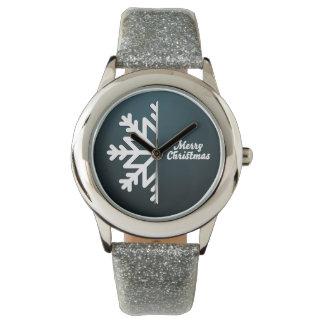 Merry Christmas Snowflake Blue Wrist Watches