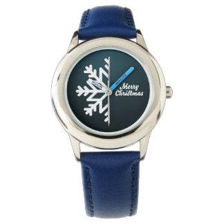 Merry Christmas Snowflake Blue Wristwatch