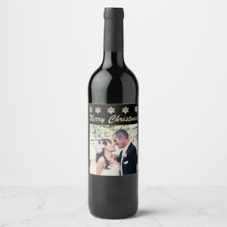 Merry Christmas Snowflake Custom Photo Wine Labels