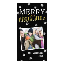 Merry Christmas Snowflake Holiday Photocard Picture Card