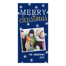 Merry Christmas Snowflake Holiday Photocard (Blue) Photo Greeting Card
