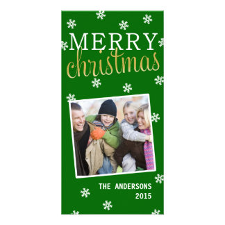 Merry Christmas Snowflake Holiday Photocard(Green) Photo Card