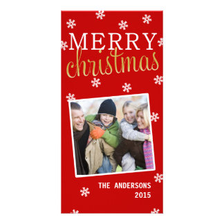 Merry Christmas Snowflake Holiday Photocard (Red) Photo Cards