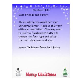 Merry Christmas Snowflake letter Letterhead Template