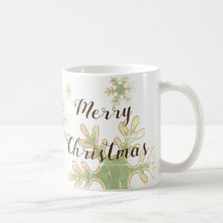 Merry Christmas Snowflake  White Holiday Coffee Mug