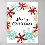 Merry Christmas - Snowflake Wreath - Poster