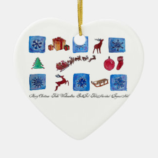 Merry Christmas Snowflakes and Wintertime Ceramic Heart Ornament