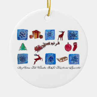 Merry Christmas Snowflakes and Wintertime Round Ceramic Ornament