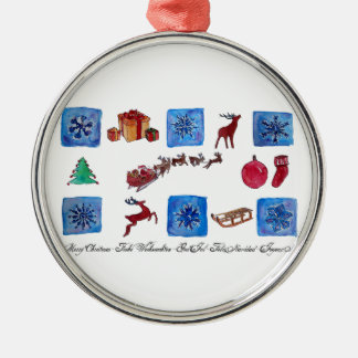 Merry Christmas Snowflakes and Wintertime Silver-Colored Round Ornament