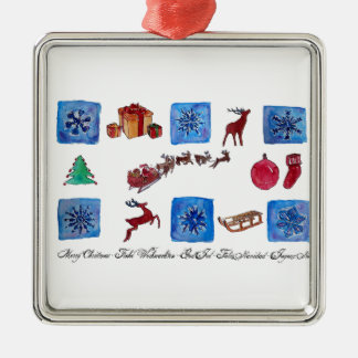 Merry Christmas Snowflakes and Wintertime Silver-Colored Square Ornament