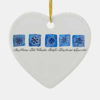 Merry Christmas Snowflakes Ceramic Heart Ornament